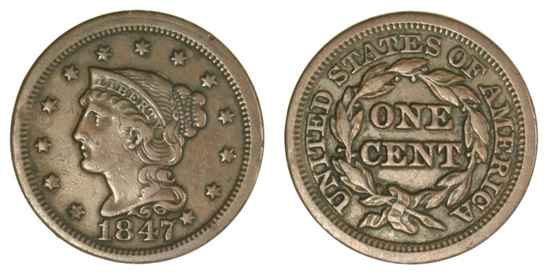 1847 N-1, Repunched date, VF-20