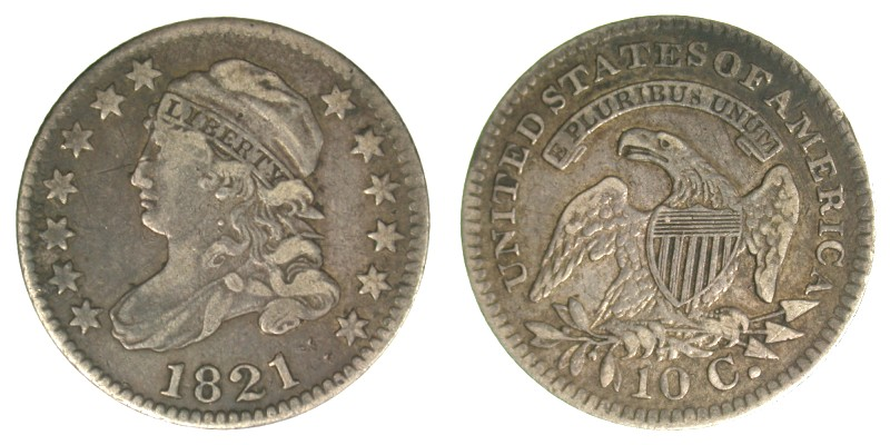 1821 JR-7, Large date, VF-30